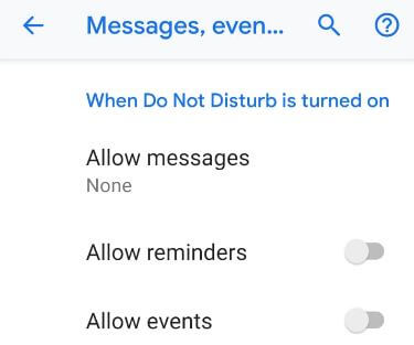 Customize Do not disturb settings on Pixel 3 XL