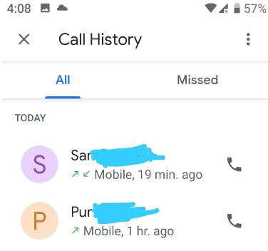 Delete individual call number from log on android Pie