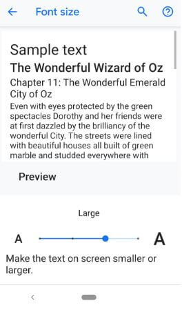 How to change font and display size in Pixel 3 Pie