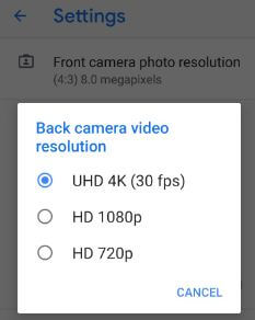 How to change video resolution on Pixel 3 Pie