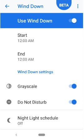 How to turn on Wind down on Pixel 3
