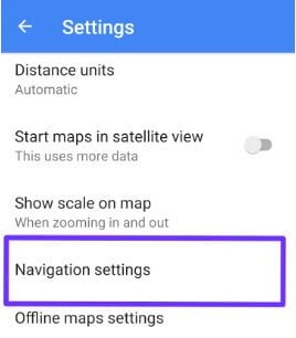 Navigation settings on android phone