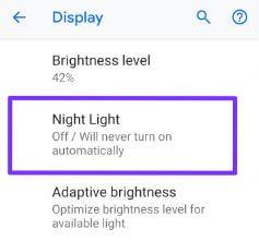 Pixel 3 Night light turn on
