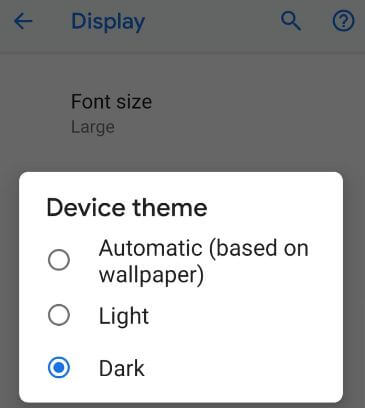 Pixel 3 dark theme