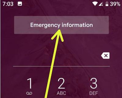 Pixel 3 emergency information