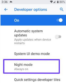 Turn on night mode automatic on android 9 Pie