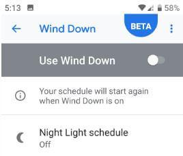 Turned off wind down mode in Google Pixel 3